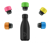 Chilly's bottle - mat zwart + gratis neon dop groen (260 ml.)