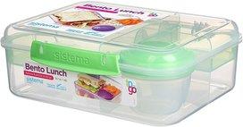 Bento lunchbox met yoghurtpotje 165 ml - doorzichtig groene klip