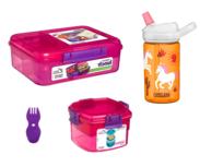 Sistema bentobox, camelbak drinkfles, snackdoos en spork bundel - roze