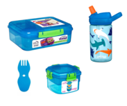 Sistema bentobox, camelbak drinkfles, snackdoos en spork bundel - blauw