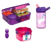 Sistema bentobox, camelbak drinkfles, snackdoos en spork bundel - paars