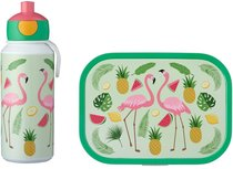 Lunchset Campus (pop-up drinkfles + lunchbox) - flamingo
