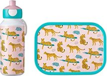 Lunchset Campus (pop-up drinkfles + lunchbox) - Leopard