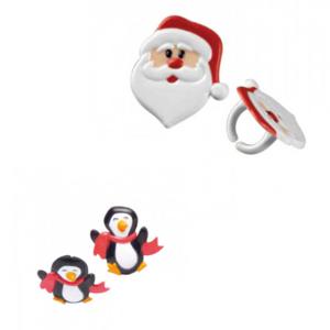 Kerstman en pinguin lunchringen   set van 4