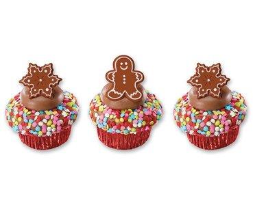 Gingerbread mannetje en sneeuwvlok koek lunchringen | set van 4