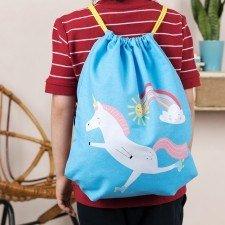 rugtasje / gymtasje - eenhoorn blauw