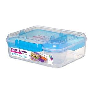 Bento lunchbox met yoghurtpotje 165 ml - doorzichtig blauwe klip