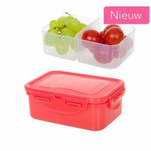 Snackbox rood met vakjes 460 ml. | Lock&Lock