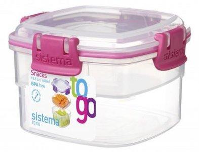 Snack to go doorzichtig roze 400 ml. | Sistema