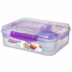 Bento lunchbox met yoghurtpotje 165 ml - doorzichtig paars klip